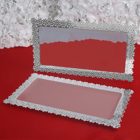 "16"" Clear Disposable Plastic Serving Tray With Silver Floral Edge"