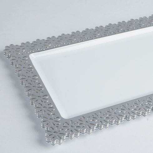 "4 Pack 16"" White Disposable Plastic Rectangular Serving Tray With Silver Floral Edge"