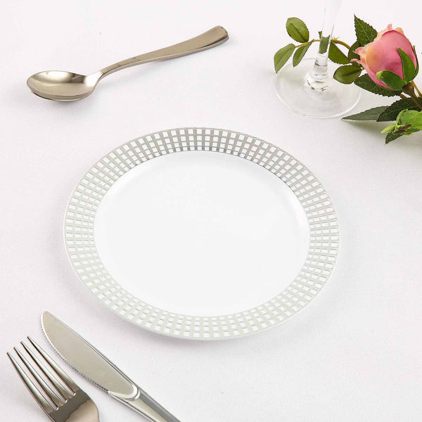 "Set of 10 - 8"" White Round Disposable Plastic Salad Dessert Plates With Silver Hot Stamped Checkered Rim"