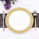 "10 Pack 10"" White Round Disposable Plastic Dinner Plates With Gold Hot Stamped Checkered Rim"