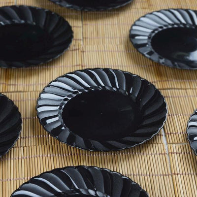 "12 Pack 6"" Black Disposable Flared Round Salad Dessert Plates"