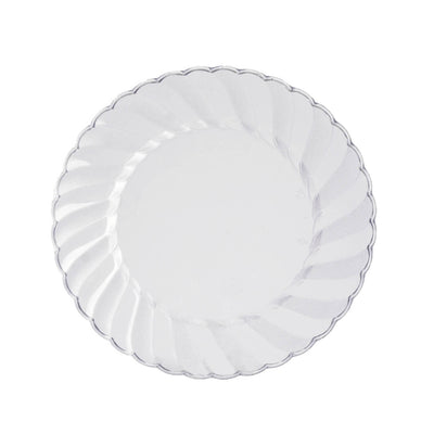 "12 Pack 6"" Clear Disposable Flared Round Salad Dessert Plates"