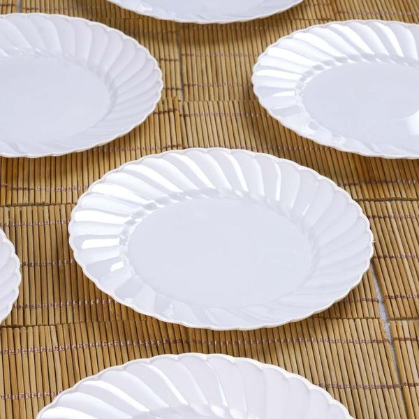 "12 Pack - 6"" White Flared Round Disposable Plastic Salad Dessert Plates"