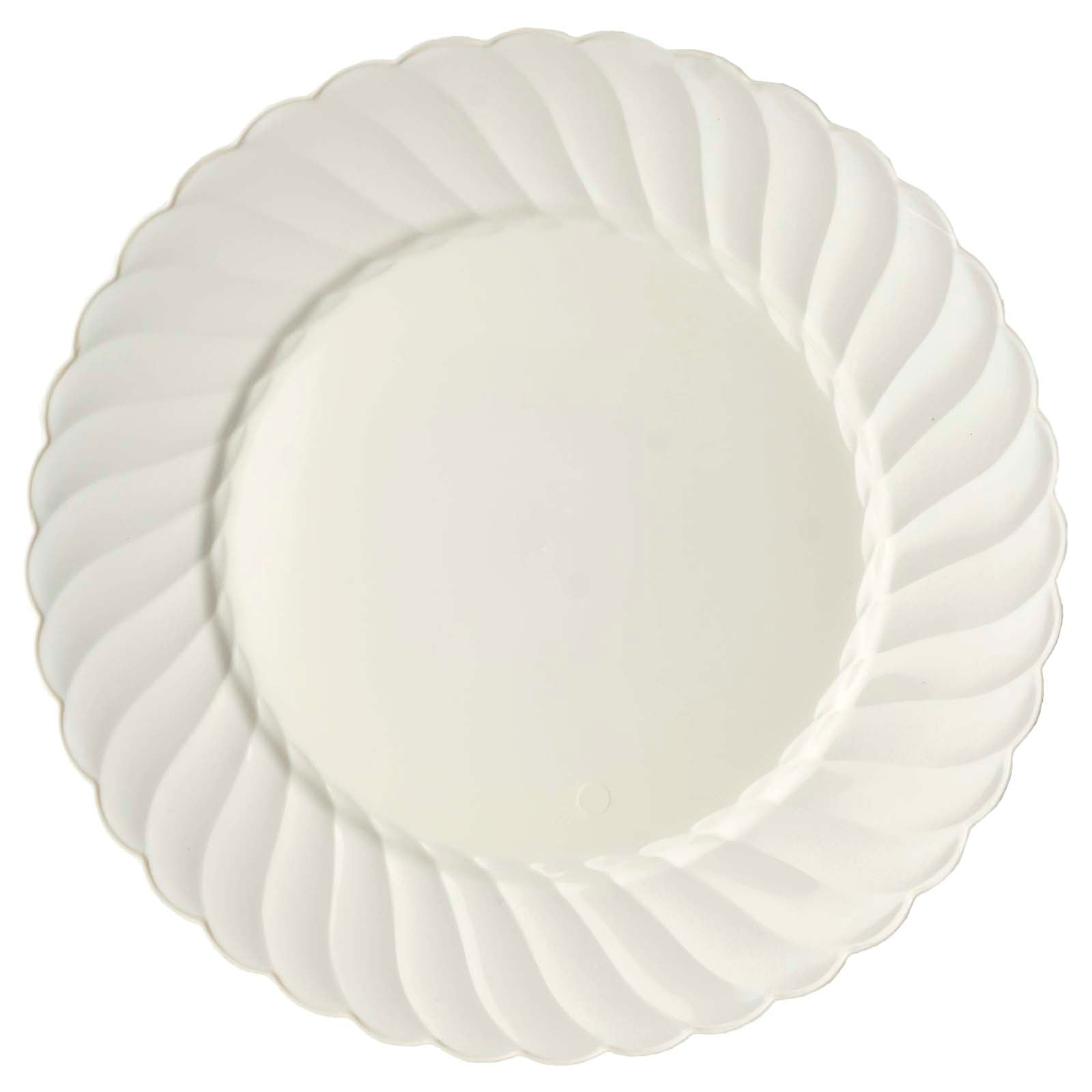 10 Pack 10\  Ivory Disposable Flared Round Dinner Plates  sc 1 st  eFavormart.com & 10 Pack 10\