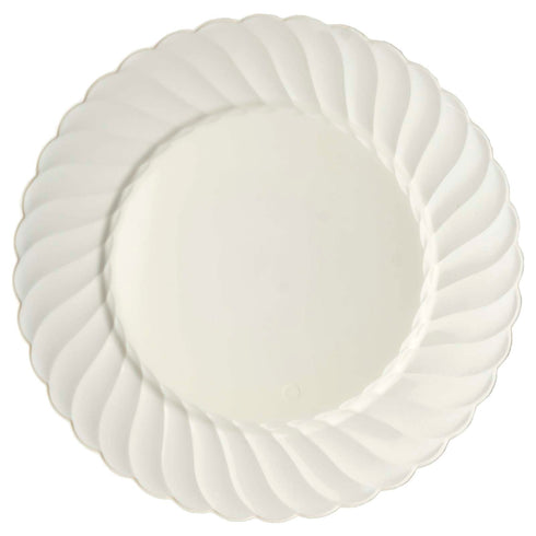 "10 Pack 10"" Ivory Disposable Flared Round Dinner Plates"