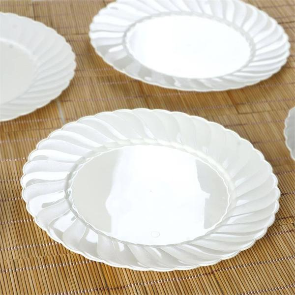 10 Pack 10  Ivory Disposable Flared Round Dinner Plates & 10 Pack 10