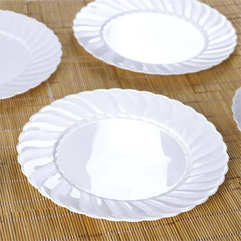 "10 Pack 10"" White Flared Round Disposable Plastic Dinner Plates"