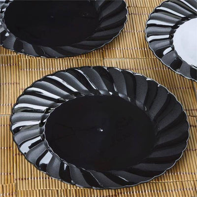 "12 Pack 8"" Black Disposable Flared Round Salad Dessert Plates"