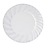 "12 Pack 8"" Clear Disposable Flared Round Salad Dessert Plates"