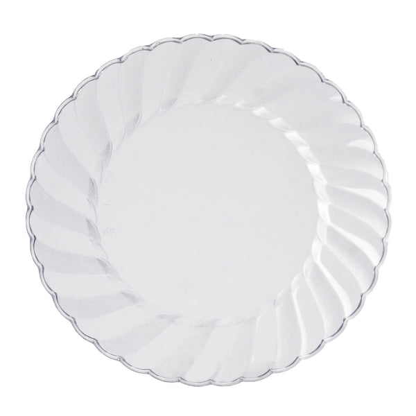 "12 Pack - 8"" Clear Swirl Disposable Plastic Plates, Salad Dessert Plates"