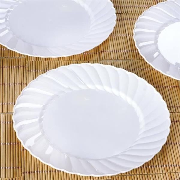 "12 Pack - 8"" White Swirl Disposable Plastic Plates, Salad Dessert Plates"