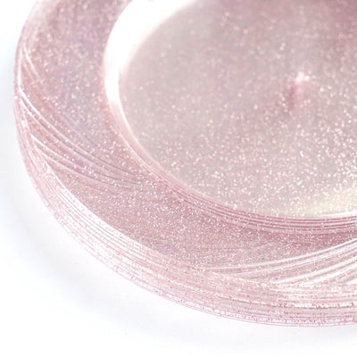 "12 Pack 9"" Disposable Blush Dust Round Dinner Plates With Shiny Blush Rim"