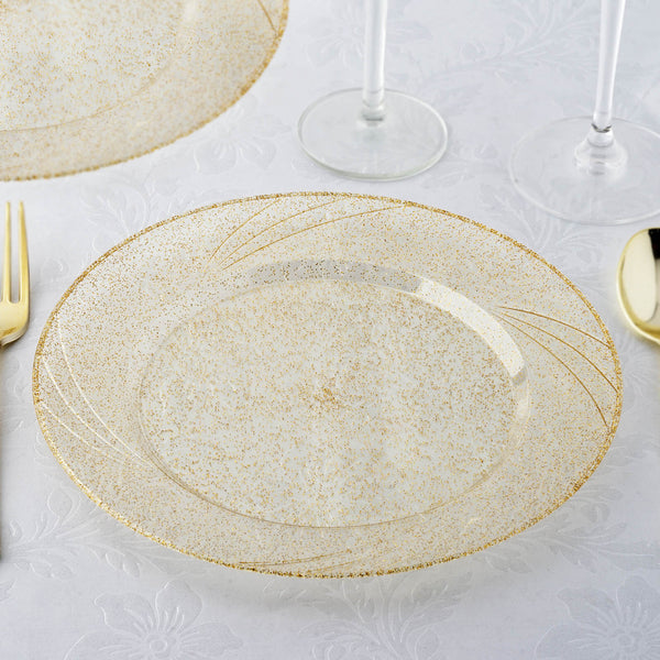 "Set of 12 - 9"" Gold Glitter Round Disposable Plastic Dinner Plates With Shiny Gold Rim"