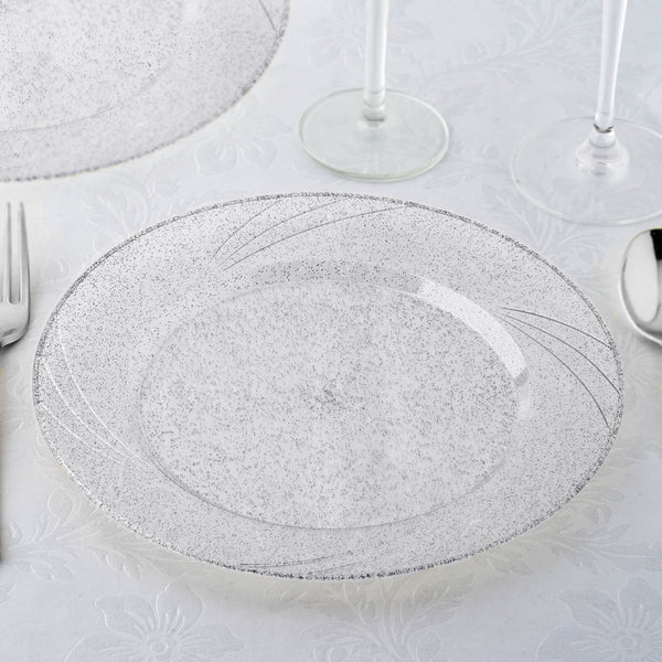 "Set of 12 - 9"" Silver Glitter Round Disposable Plastic Dinner Plates With Shiny Silver Rim"