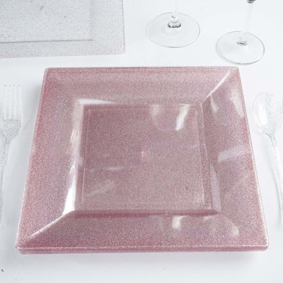 "12 Pack 10"" Disposable Blush Dust Square Dinner Plates With Shiny Blush Rim"