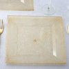 "12 Pack 10"" Shiny Gold Dust Square Disposable Partytown Plastic Plates For Wedding Party Event Dinnerware"