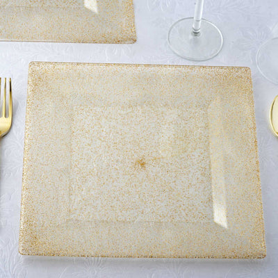 "12 Pack 10"" Disposable Gold Dust Square Dinner Plates With Shiny Gold Rim"
