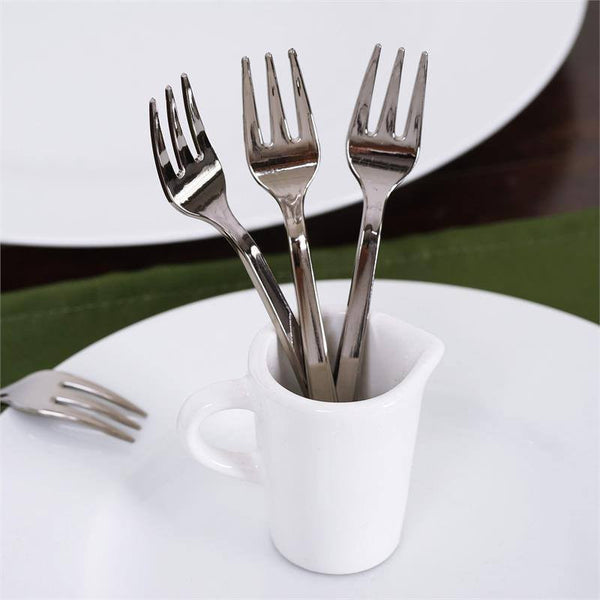 36 Pack 4  Silver Chambury Plastic Disposable Cake Dessert Forks & Plastic Dinnerware | Affordable Supplies | eFavormart