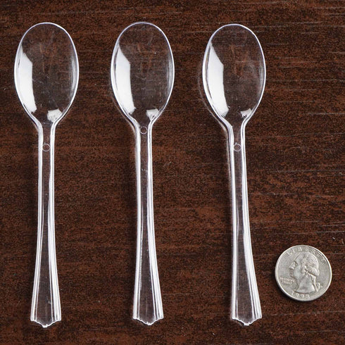 36 Pack - Clear Dessert Coffee Spoons - Twirl Collection