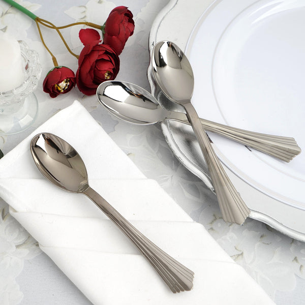 "Set of 25 - 6"" Silver Heavy Duty Plastic Spoon, Dessert Spoon"