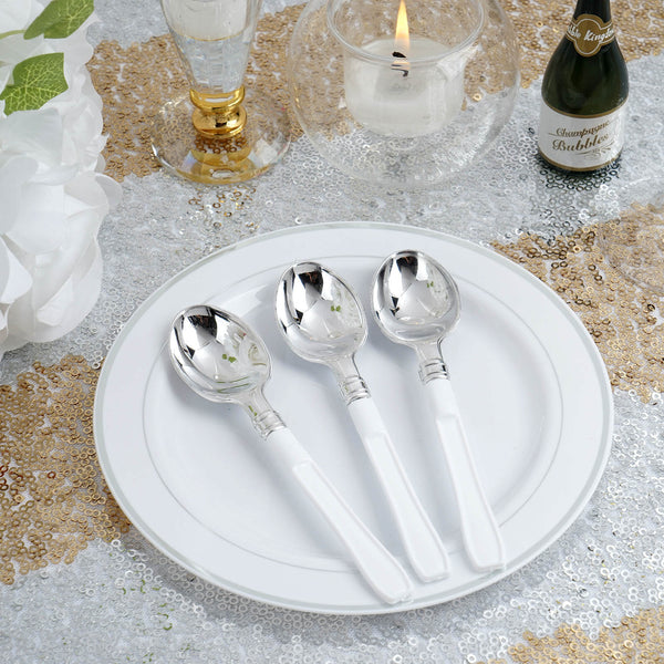 "Set of 36 - 5"" Silver Heavy Duty Plastic Spoon with White Handle, Coffee Spoon"