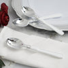Silver Plastic Spoon with White Handle, Plastic Silverware