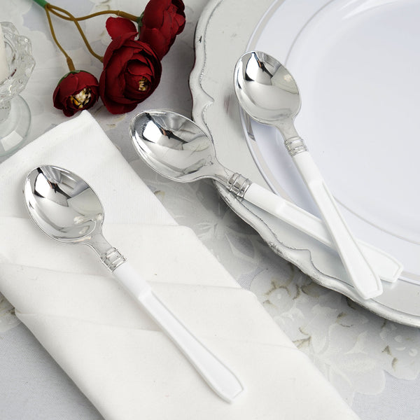 "25 Pack - 7"" Silver Heavy Duty Plastic Spoon with White Handle, Plastic Silverware"