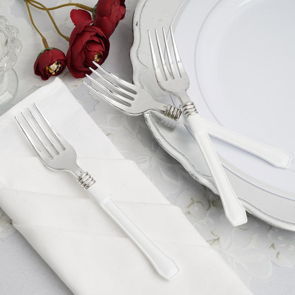 "25 Pack - 7"" Silver Heavy Duty Plastic Forks with White Handle, Plastic Silverware"