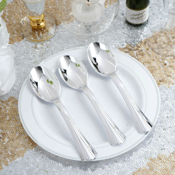 "Set of 36 - 5"" Silver Chambury Heavy Duty Plastic Spoon, Coffee Spoon, Plastic Silverware"