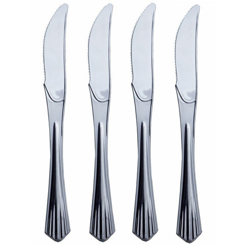 25 Pieces - Silver Plastic Knife - Sorrentine Collection