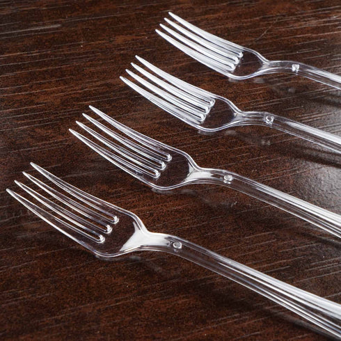25 Pieces - Clear Plastic Fork - Twirl Collection