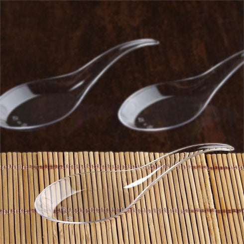 "100 Pack - Clear Contemporary 4.5"" Chinese Spoon"