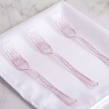 "25 Pack 7"" Blush Glittered Disposable Plastic Fork"