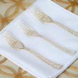25 Pack Gold Glittered Disposable Plastic Fork