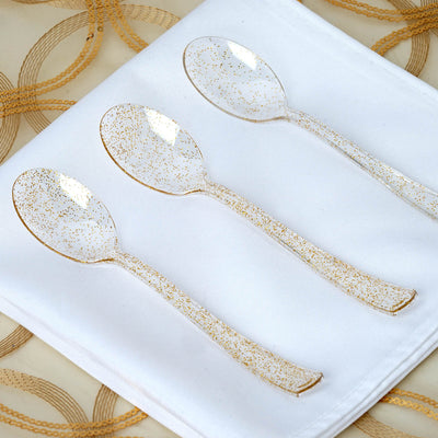 25 Pack Gold Glittered Disposable Plastic Spoon