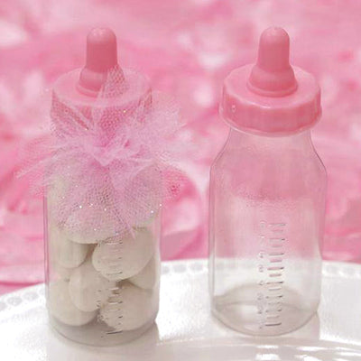 Pink Fillable Feeding Bottle Baby Shower Birthday Party Favors Gift - 12/pk