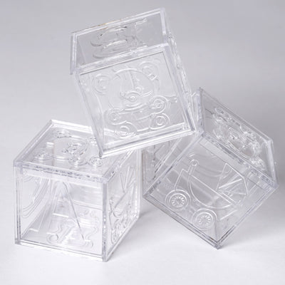 "2"" Clear Fillable Baby Blocks Birthday Shower Party Favor Gift - 12/pk"
