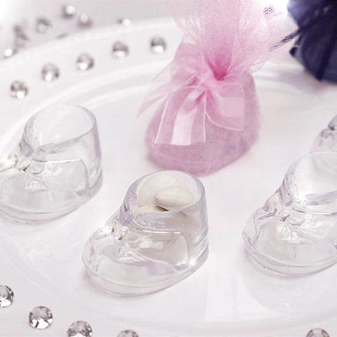 Clear Fillable Baby Booties Birthday Shower Party Favor Gift - 12/pk