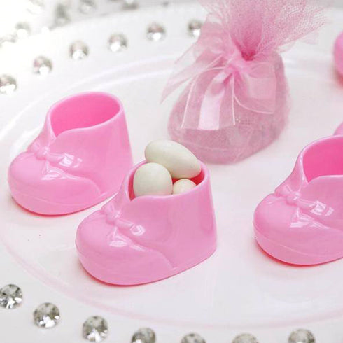 Pink Fillable Baby Booties Birthday Shower Party Favor Gift - 12/pk