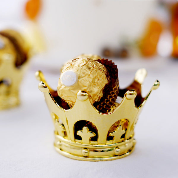 "12 Pack | 3"" Gold Fillable Crown Favor Containers"