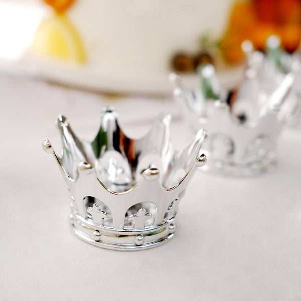"12 Pack | 3"" Silver Fillable Crown Favor Containers"