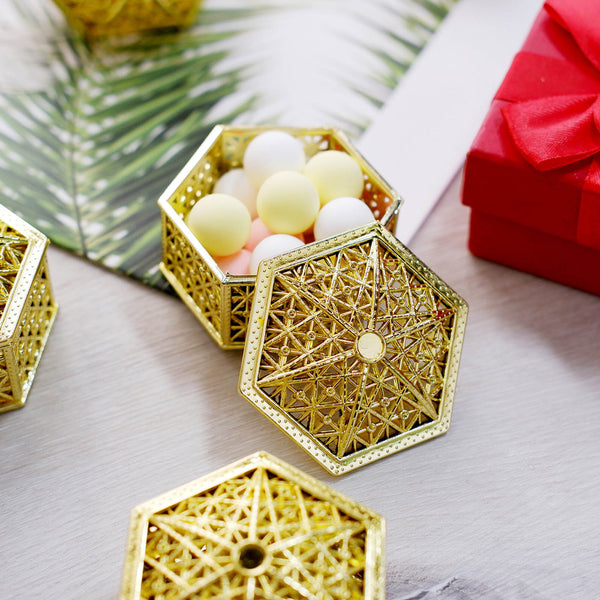 "12 Pack | 3"" Gold Hexagon Favor Candy Boxes"