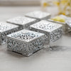 12 Pack | 2 inch Silver Vintage Square Candy Boxes, Wedding Party Favor Containers