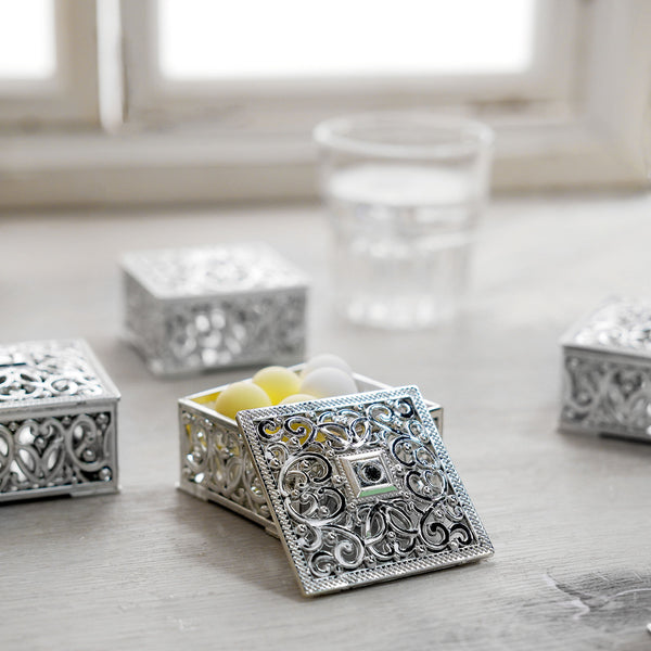 "12 Pack | 2"" Silver Vintage Square Favor Candy Boxes"