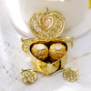 12 Pack | 4 inch Gold Heart Carriage Party Favor Containers, Wedding Candy Boxes