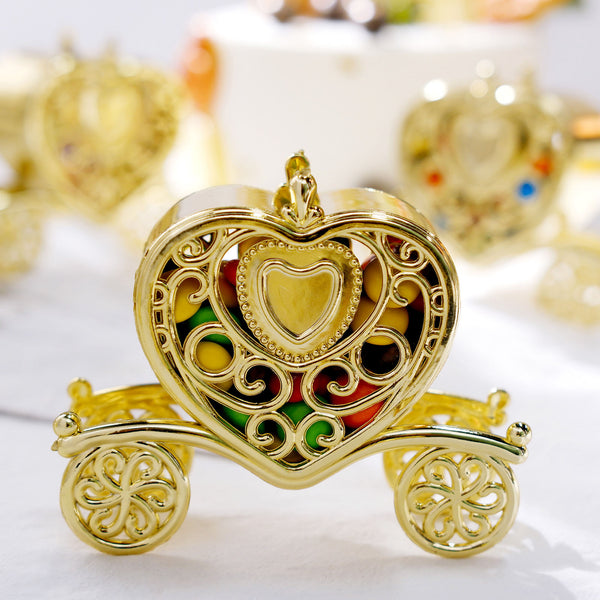 "12 Pack | 4"" Gold Fillable Heart Carriage Favor Candy Boxes"