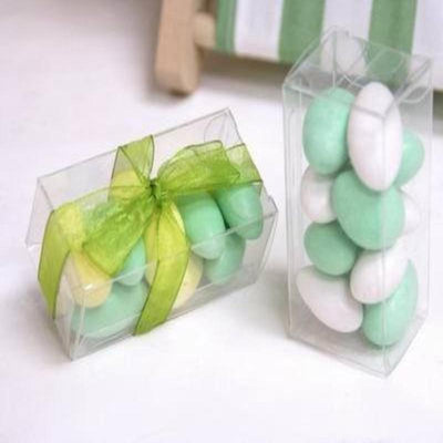 25 Pack Plastic Clear Rectangle Favor Candy Boxes
