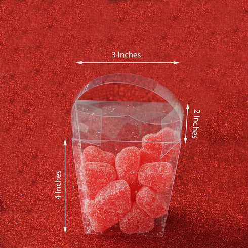 "25 Pack Plastic Clear Basket Favor Candy Boxes With Handle - 3"" x 2"" x 4"""
