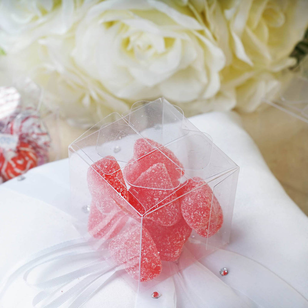 Clear favor boxes for baby shower : Clear petal top favor plastic pvc boxes for wedding party
