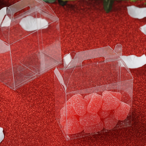 "25 Pack Plastic Clear Treasure Chest Favor Candy Boxes - 4"" x 2"" x 3"""